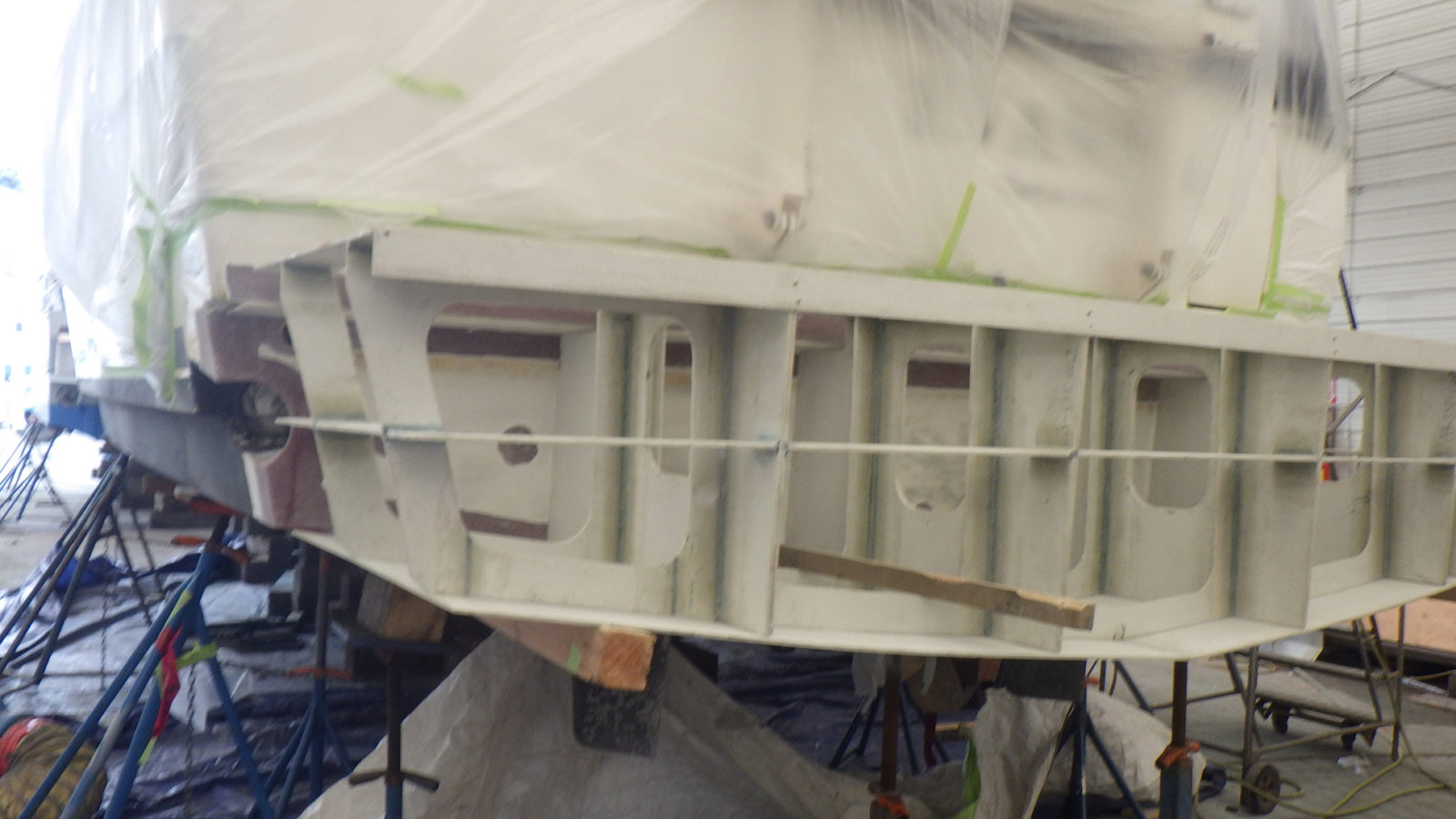 The structural fiberglass extension in place