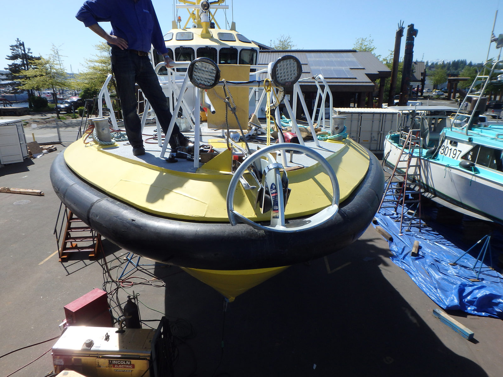 Mark, our boatyard manager overseeing the installation of the new Anchor winch.
