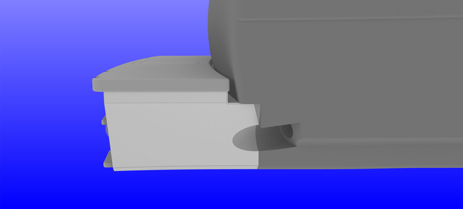 Computer generated images of the hull extension. By Polar Design Sales